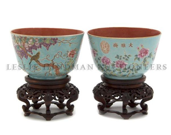 698: A Pair of Chinese Porcelain Bowls, Height 3 1/4 in