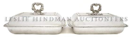 831 A Pair of English Silverplate Lidded Entre Dishes