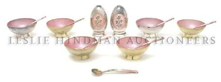 933 A Set of Six Danish Silver and Enameled Salts With