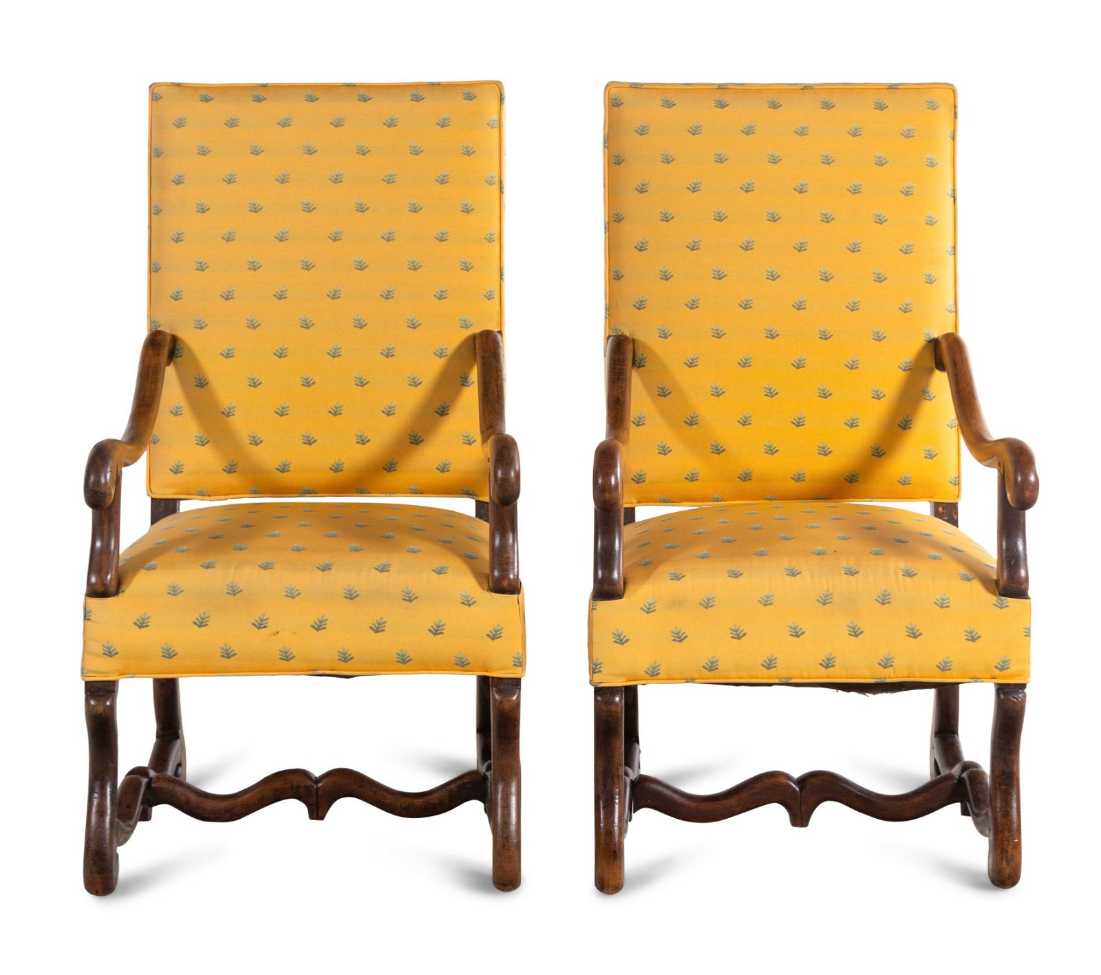 A Pair of Louis XIV Walnut Armchairs