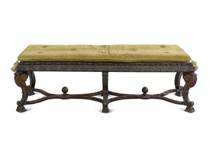A Louis XIV Style Painted Bench