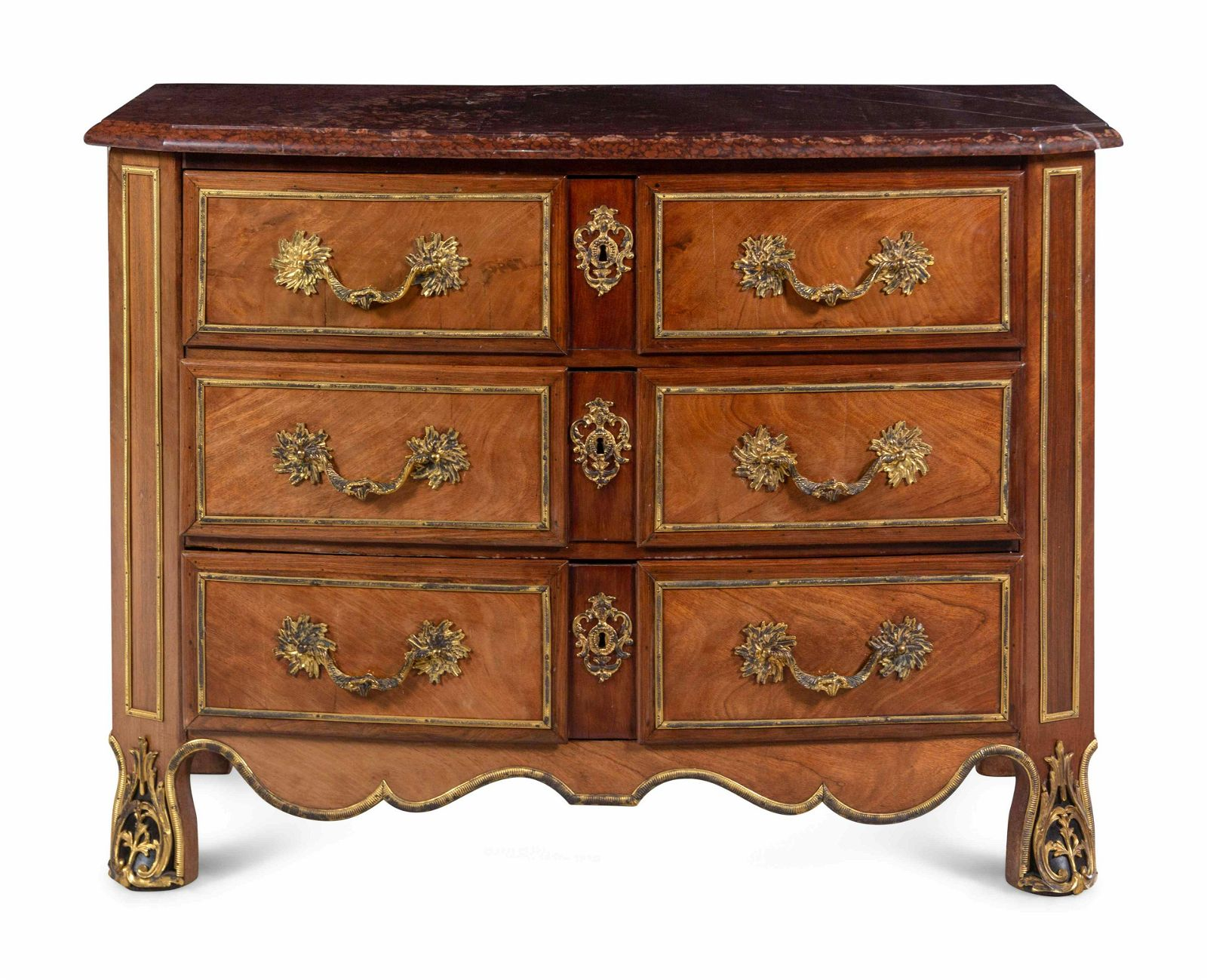 A Continental Gilt Bronze Mounted Mahogany Marble-Top