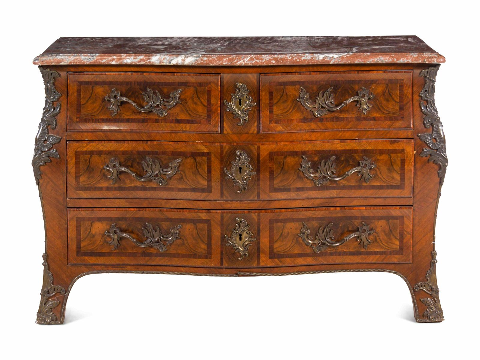 A Regence Style Rosewood-Banded Walnut Marble-Top