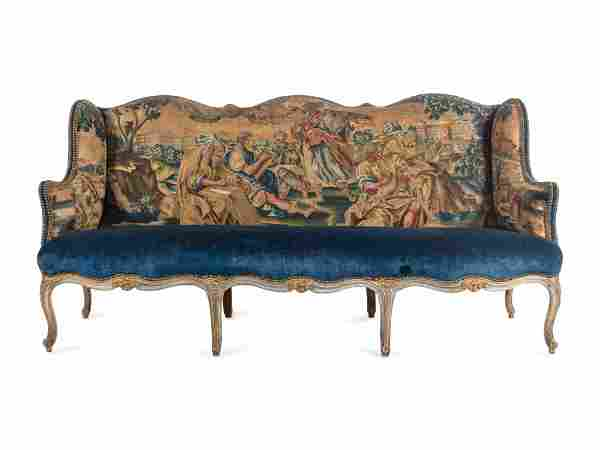 A Louis XV Painted Canape with Needlepoint Tapestry