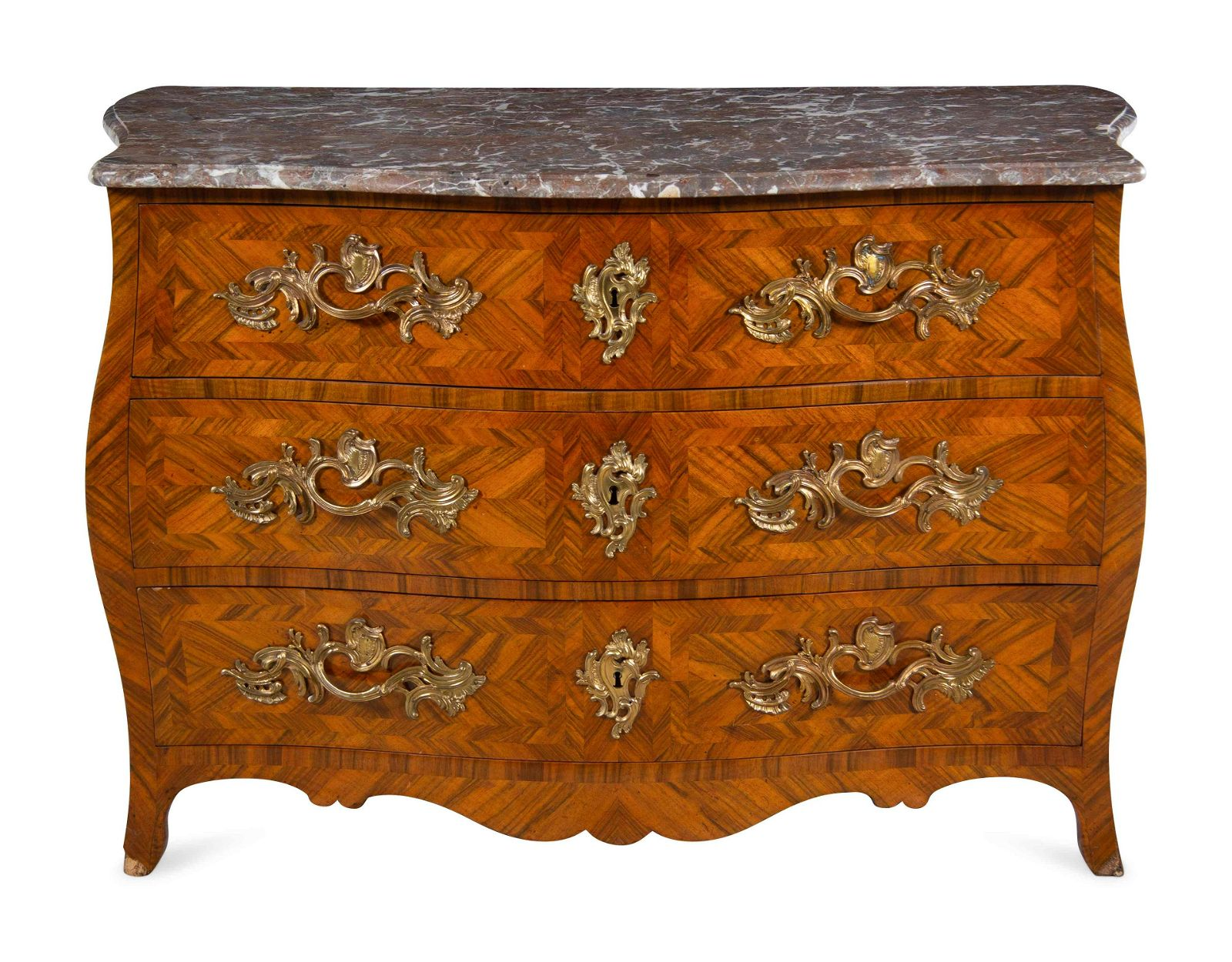 A Louis XV Gilt Bronze Mounted Parquetry Marble-Top