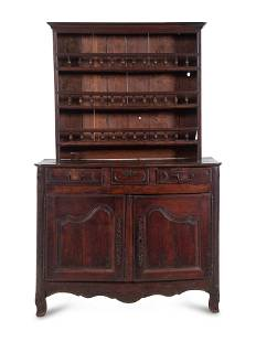 A French Provincial Walnut Buffet a Deux Corps