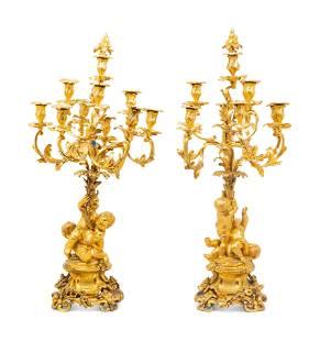 A Pair of Louis XV Style Gilt Bronze Figural Ten-Light