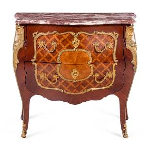 A Louis XV Style Gilt Bronze Mounted Parquetry