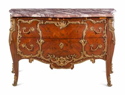 A Louis XV Style Gilt Bronze Mounted Marquetry
