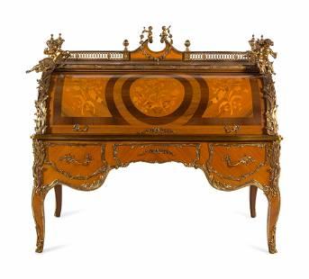 A Louis XV Style Gilt Metal Mounted Marquetry Bureau