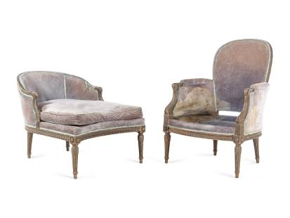 A Louis XVI Painted Bergere and Bout-de-Pied