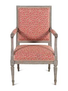 A Louis XVI Grey-Painted Fauteuil