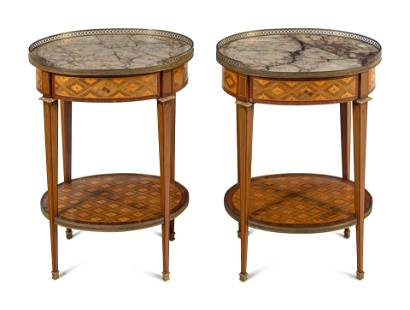 A Pair of Louis XVI Style Marquetry Marble-Top Side