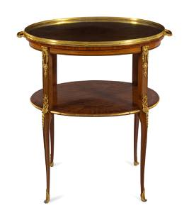 A Louis XVI Style Gilt Bronze Mounted Parquetry Serving