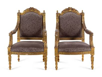 A Pair of Louis XVI Style Giltwood Fauteuils