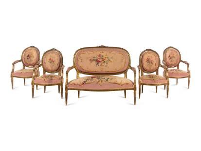 A Louis XVI Style Giltwood Parlor Suite
