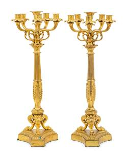 A Pair of Louis XVI Style Gilt Bronze Six-Light