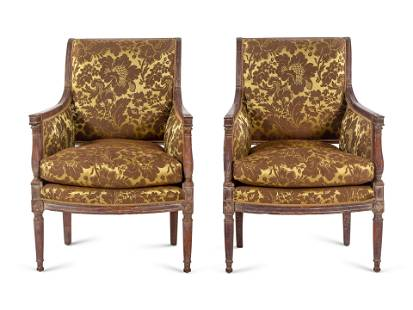 A Pair of Directoire Walnut Bergeres