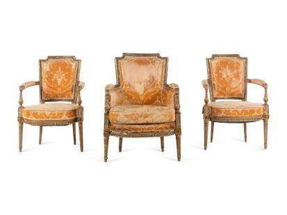 A Pair of Directoire Painted and Parcel Gilt Fauteuils