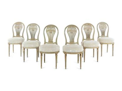 """A Set of Six French Painted """"Montgolfier"""" Dining Chairs"""