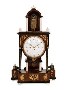 An Austrian Alabaster and Bronze Mounted Mahogany Clock