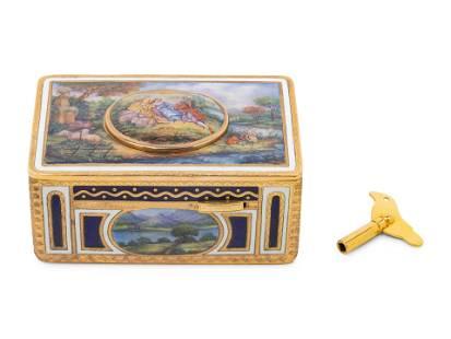 A Continental Enameled Singing Bird Automaton Box