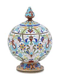 A Feodor Ruckert Enameled Silver Covered Jar