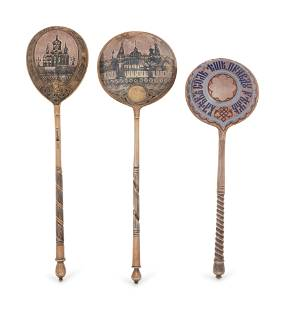 Three Russian Silver Spoons