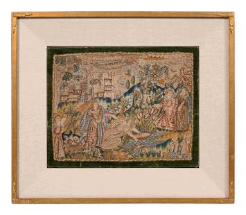 A Charles II Needlework Box Lid Depicting Moses in the