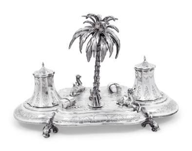 A Victorian Orientalist Silver Ink Stand