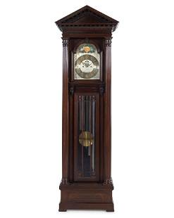A Herschede Mahogany Five-Tube Tall Case Clock