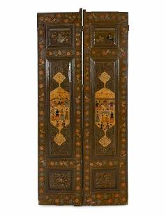 Two Pairs of Persian Painted Door Panels