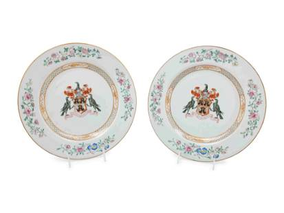 A Pair of Chinese Export Porcelain Armorial Chargers