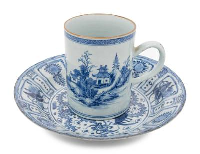 A Chinese Export Kraak Ware Charger and a Blue and