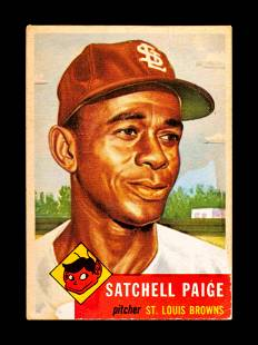 A 1953 Topps Satchel (Satchell) Paige Baseball Card No.
