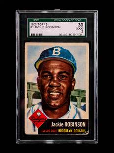 A 1953 Topps Jackie Robinson Baseball Card No. 1 (SGC 2