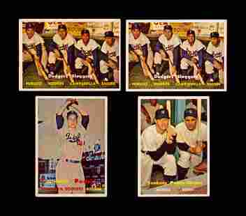 A Group of Four 1957 Topps Baseball Cards Including