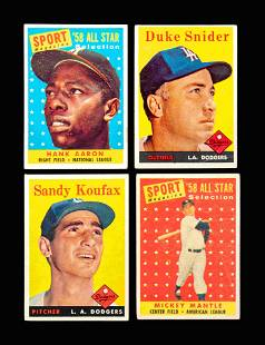 A Group of Four 1958 Topps Baseball Cards Including
