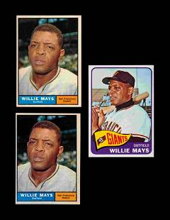 A Group of Three 1960s Topps Willie Mays Baseball