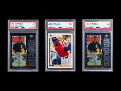 A Group of Three 1990s PSA 9 Mint Michael Jordan Rookie