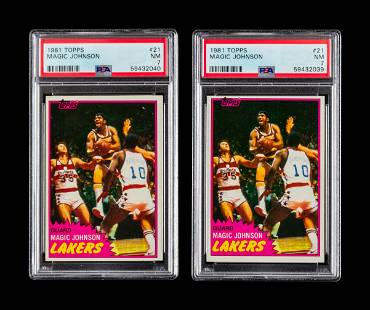 A Group of Two 1981 Topps Magic Johnson Basketball