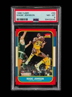 A 1986 Fleer Magic Johnson Basketball Card No. 53 (PSA
