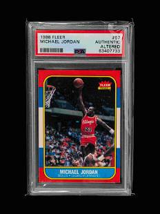 A 1986 Fleer Michael Jordan Rookie Basketball Card No.