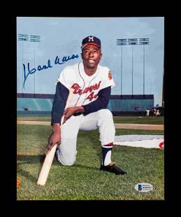 A Hank Aaron Milwaukee Braves Signed Autograph