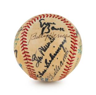 A Multi Signed Baseball Comprised of 16 Deceased Hall