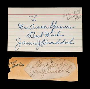 A Group of James J Braddock Signed Autograph Items,