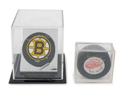 A Group of Bobby Orr and Gordie Howe Signed Autograph