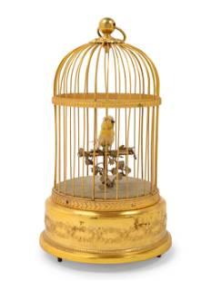 A French Gilt Metal Automaton Bird Cage