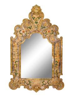 A Venetian Reverse-Painted Glass Mirror