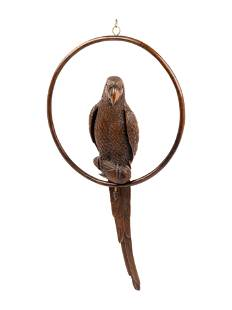 A Black Forest Carved Parrot on Ring Perch Ornament